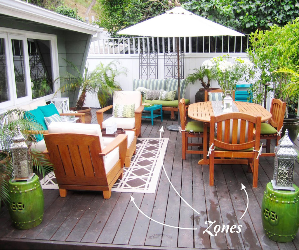 Outdoor deck area divided into zones
